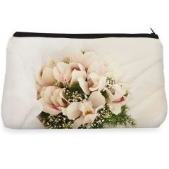White rose flower Make up Pouch
