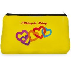 Yellow heart wakeup for Make up pouch