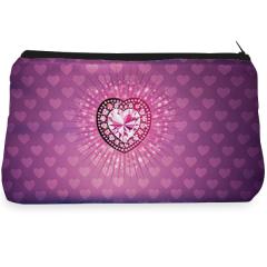 Purple heart diamond Make up pouch