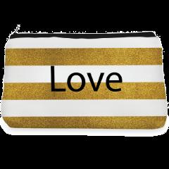 Glitter golden love Make up Pouch