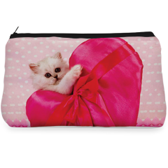 Pink heart cat love Make up pouch