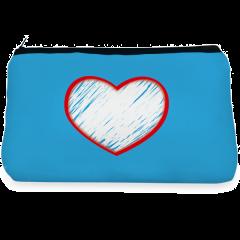 Blue heart love Make up Pouch