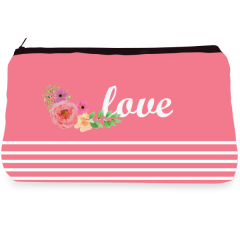 Pink floral love  Make up Pouch