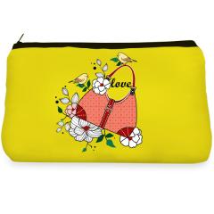 Yellow flower birds Make up Pouch