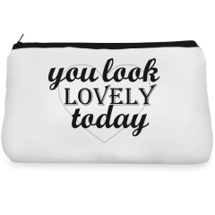 White heart lovely Make up Pouch