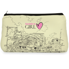 Beige City illustration Make up Pouch
