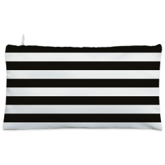 White & black strips floral Cosmetic Pouch