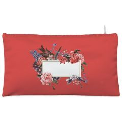 Red floral and bird Cosmetic Pouch